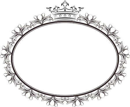 oval frame: vintage oval frame with crowns