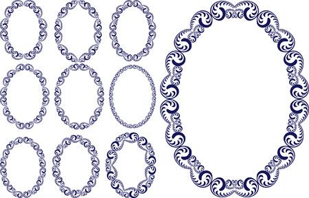marcos decorados: conjunto de marco ovalado vendimia