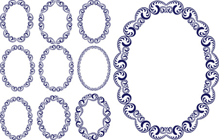 set of vintage oval frame Illustration