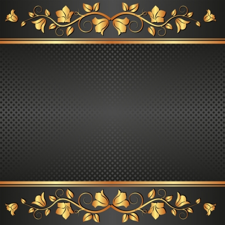 black  background with floral ornaments Vector