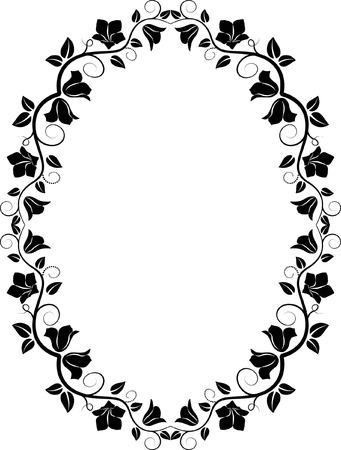 utsirad: filhouette av blommig ram Illustration