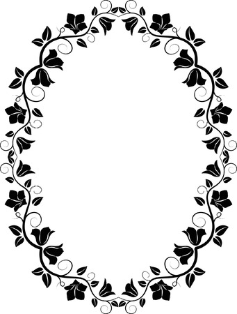 filhouette of  floral frame