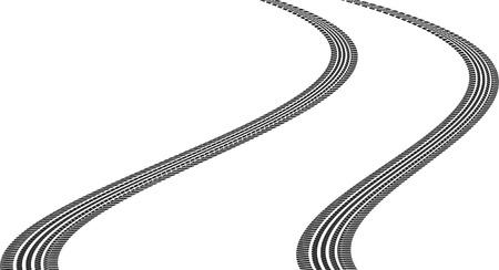 huellas de llantas: huellas de neumáticos en una curva