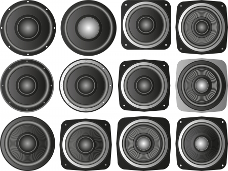 clipart speaker: set of isolated speakers Illustration