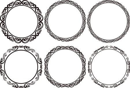 set of round frames - design elements 向量圖像