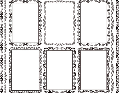 set of rectangular frames and borders Vector