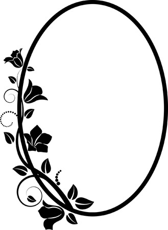 floral flower pattern: silhouette of  floral frame