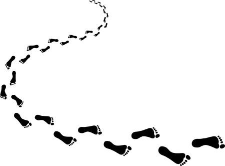 Binnenkomende voetafdrukken Stock Illustratie