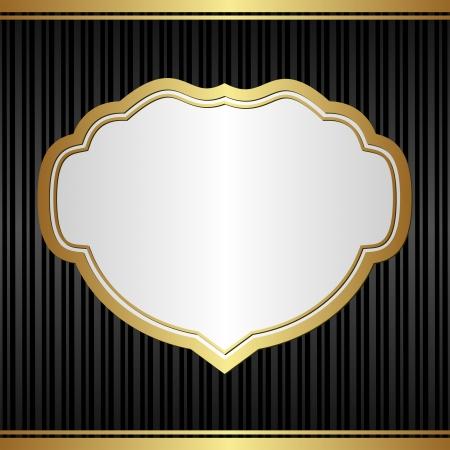brushed gold: black elegant background with golden frame
