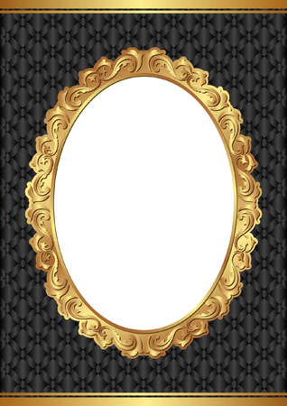 oval frame: black background with golden frame and transparent space insert for picture