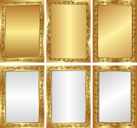 set of golden and silver backgrounds