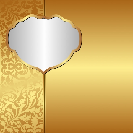 golden background with ornaments and silver frame Vector