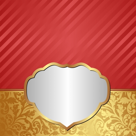 gold red background with ornaments and silver frame Vector