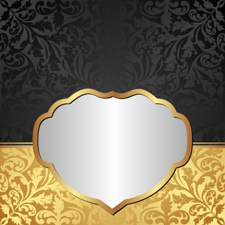 gold black background with ornaments and silver frame Vector