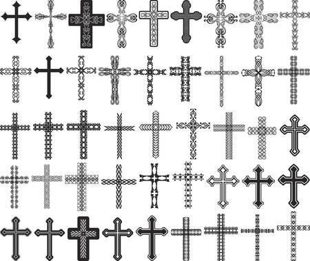 clip art illustration of crosses with ornaments Vector