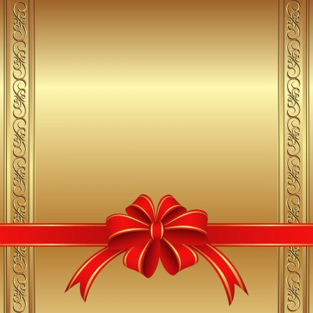 golden background with a red bow for gifts Vector