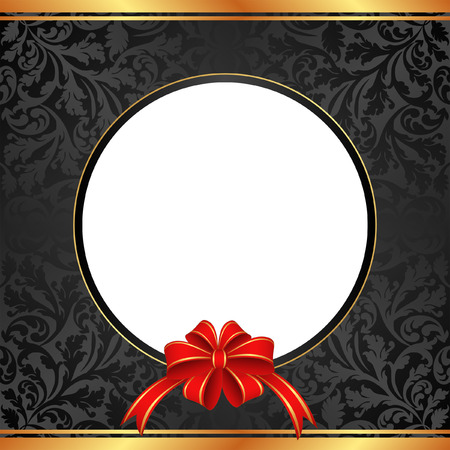 black background with gift bow for present and transparent space insert for picture Vector
