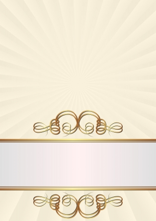 creamy background with golden ornaments Vector