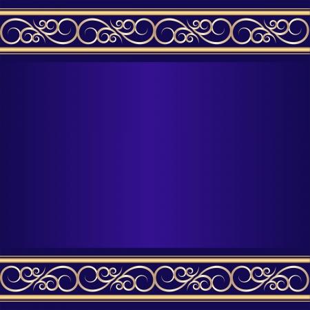 fondo vintage azul: fondo azul de la vendimia con los ornamentos de oro Vectores