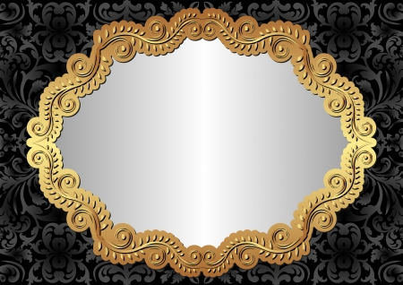 silver black background with golden frame Vector