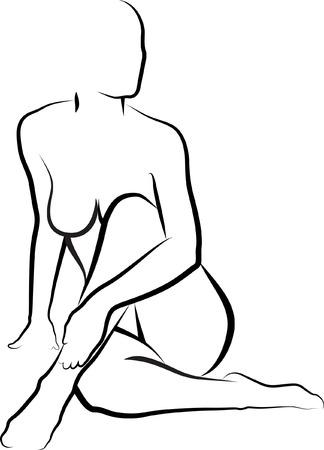 mujer desnuda: mujer desnuda frotando loci�n en su pierna o la mujer que hace el masaje de la pierna Vectores