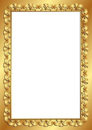 marcos decorados: Marco de oro con inserción espacio transparente Vectores