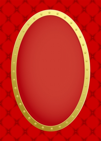 quilted fabric: red background with golden frame Illustration