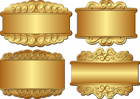 set of golden banners with ornamentc Stock Vector - 23764140