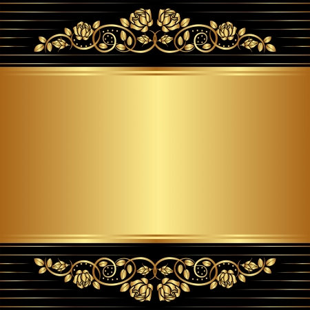 gold black background with floral ornaments Vector