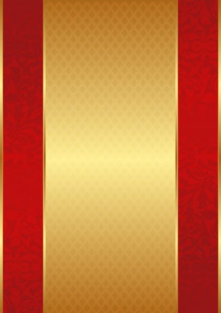 gold red vintage background with ornaments