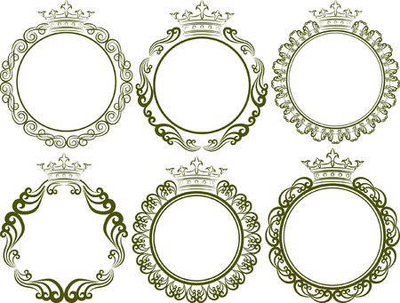 circular silhouette: set of royal frames with crown