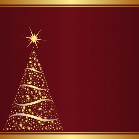 red background with christmas tree  Illustration