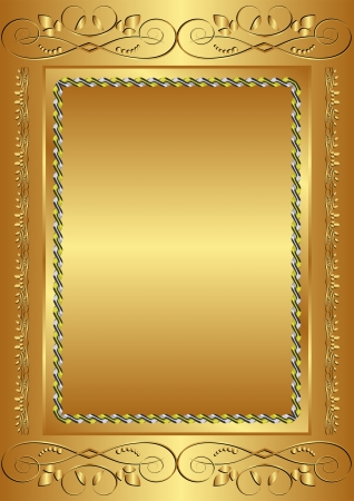 golden background with vintage frame Vector