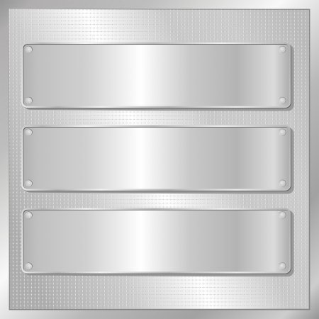 on silver: silver background with three silver banners