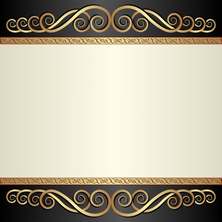 brass plate: vintage background with ornaments Illustration