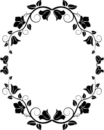 oval frame: silhouette of floral frame