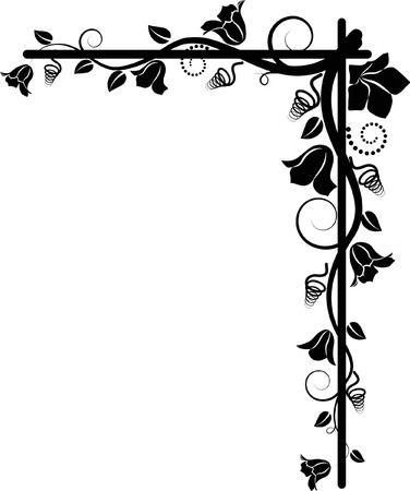 silhouette of the floral corner Vector