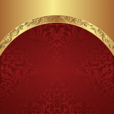 gold red background with vintage border Vector