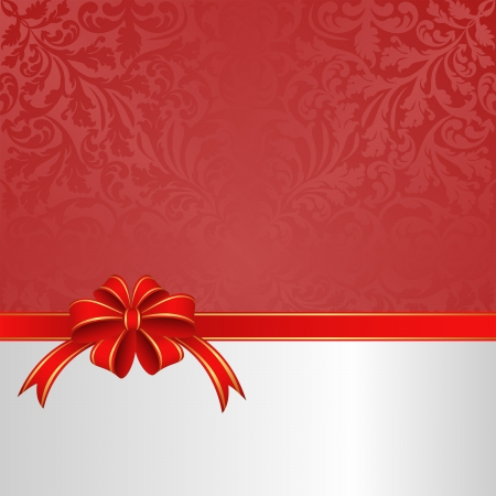 red white background with ribbon and bow Vector