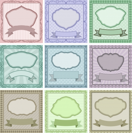 set of vintage backgrounds with frames and borders Stock Vector - 24168822