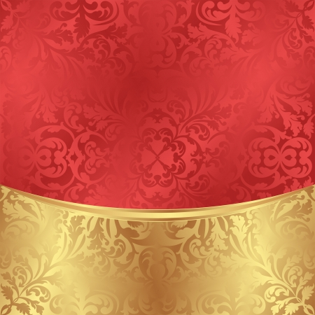 satiny: gold red abstract floral ornaments
