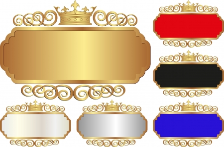 set of isolated banners with crown Vector