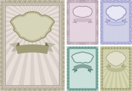 set of vintage backgrounds with frames and borders Vector