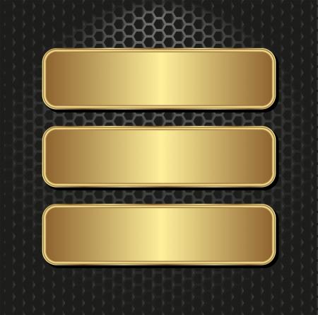 fond sombre: trois banni�res d'or sur fond noir