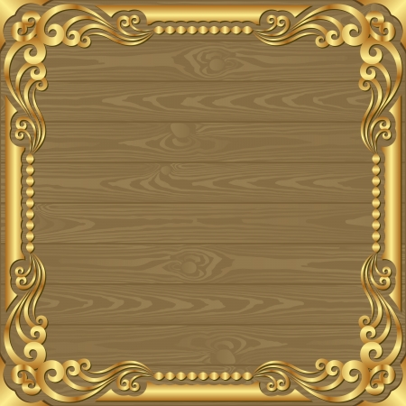 golden border: wooden planks background witg golden frame Illustration