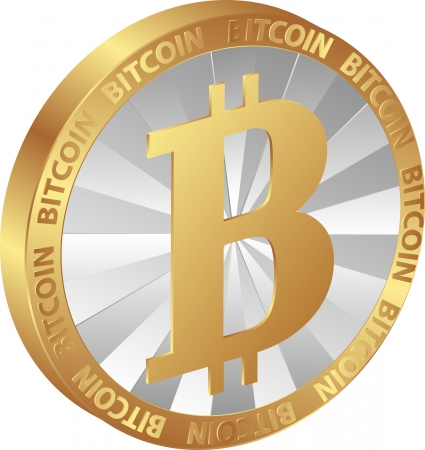distributed: isolated coin bitcoin - digital currency Illustration