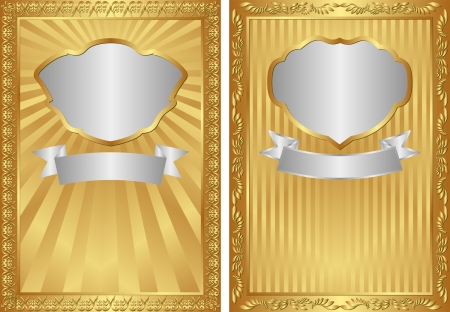 set of two gold backgrounds with silver frames Vector