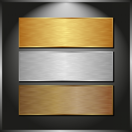 dark panel with three metallic banners 向量圖像