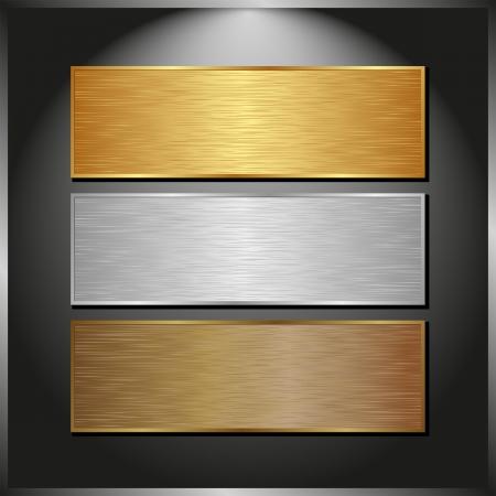 dark panel with three metallic banners Illustration