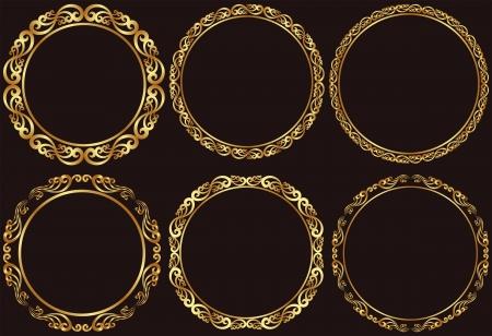 golden frames: set of golden round frames